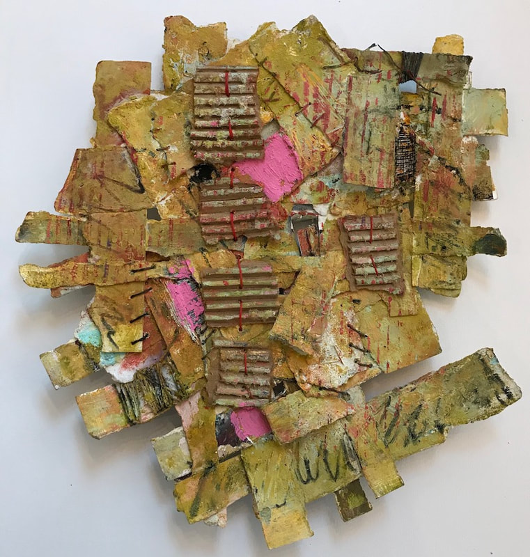 "Construct 2, Cindy Walton, oil, paper, corrugated cardboard, waxed linen thread, oil paint, cold wax, 15""x13"""